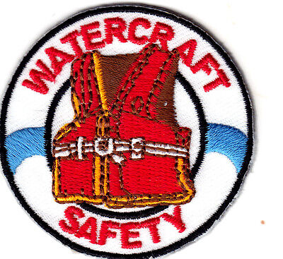 """""""WATERCRAFT SAFETY"""" Iron On Embroidered Patch - Boats Nautical Sailing"""