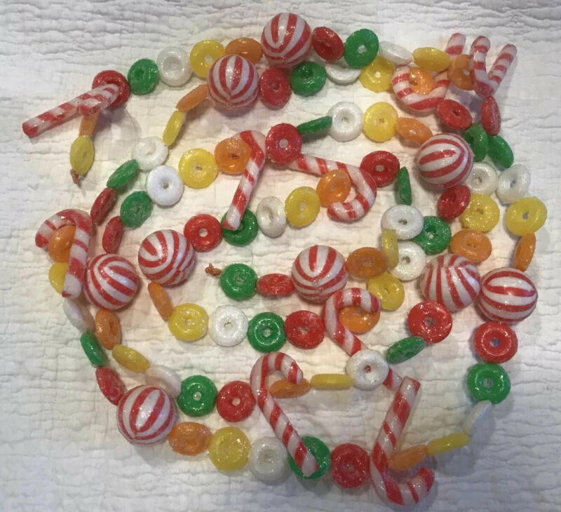 Vintage Blow Mold Plastic Glittered Lifesaver Candy Cane Garland 3 Yd Christmas