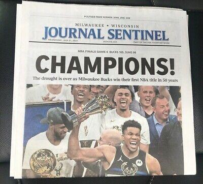 MILWAUKEE JOURNAL Newspaper BUCKS NBA CHAMPIONS 2021 GIANNIS ANTETOKOUNMPO Khris