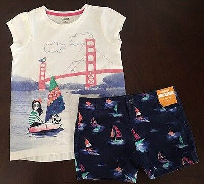 NWT Gymboree Girl Shore To Love Bay Trip Tee & Boating Shorts Outfit 6 7 8 12