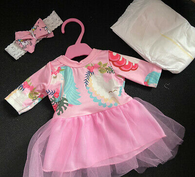 """New Unicorn Dolls Dress Bow Nappy Fit Baby Born Baby Annabell other Dolls 14-18"""""""
