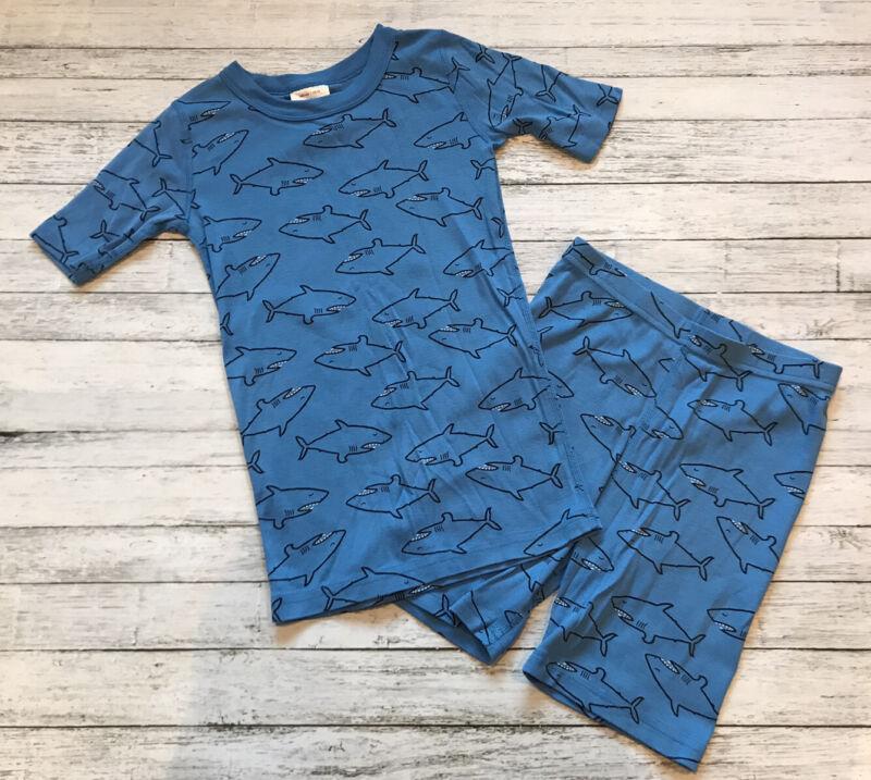 Hanna Andersson Blue Shark Pajamas Short Johns 140 Cm 10 Y
