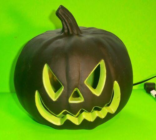 JACK O LANTERN foam BLOW MOLD black PUMPKIN with scary green face MINTY