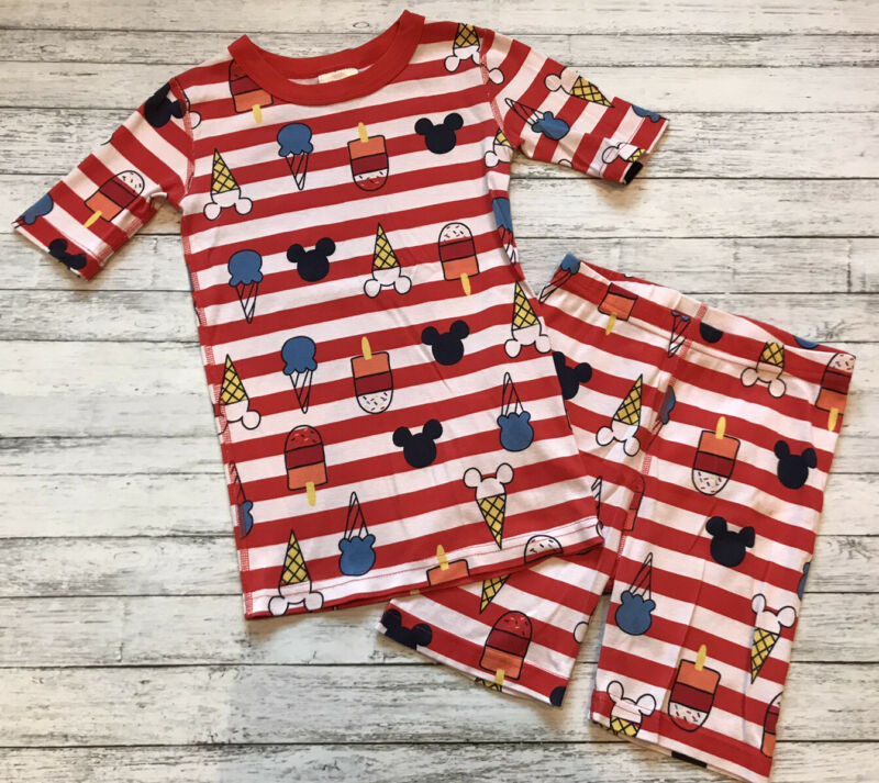 Hanna Andersson Mickey Mouse Red Stripe Pajamas Short Johns 140 Cm 10 Y