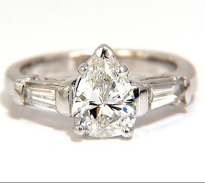 GIA 1.74CT NATURAL PEAR BRILLIANT DIAMOND RING CLASSIC THREE ENGAGEMENT+