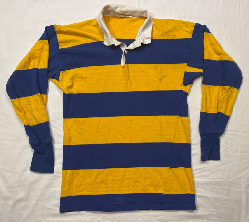 VTG Rugby Shirt S/M Wide Stripes Blue Yellow Canterbury New Zealand Distressed