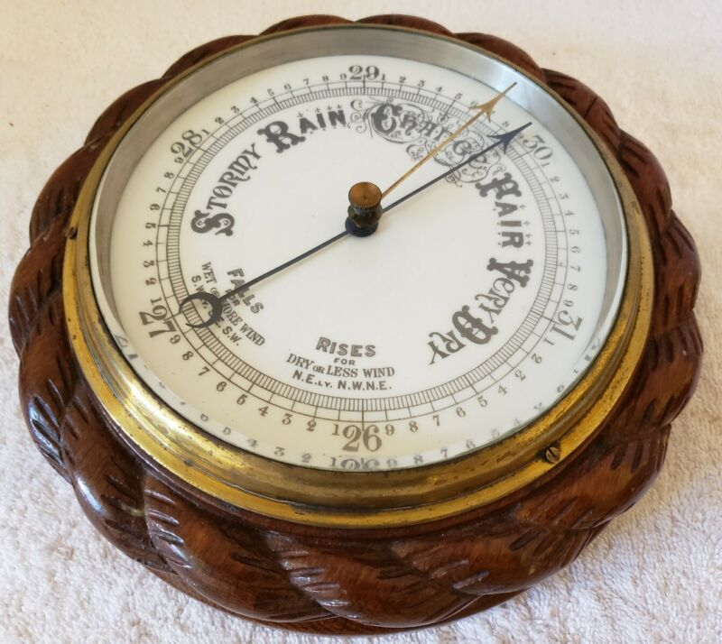 Antique English Victorian Ornate Carved Walnut Round Aneroid Wall Barometer