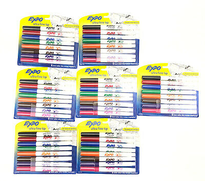 Bulk Lot Of 56 Expo Dry Erase Markers Ultra Fine Tip 7 Packs Of 8-count