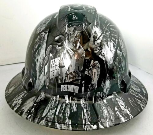 FULL BRIM Hard Hat custom hydro dipped SILVER N BLACK WALKING DEAD ZOMBIE SICK