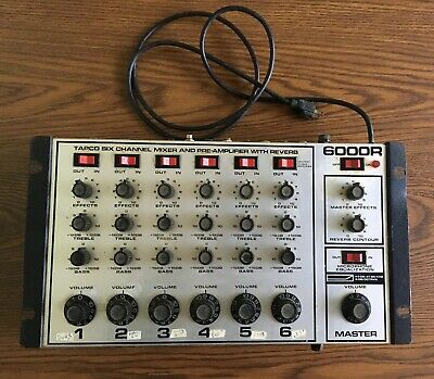 Tapco 6000R, 6 Channel Mixer & Preamp with Spring Reverb & Eq, Vintage Rack