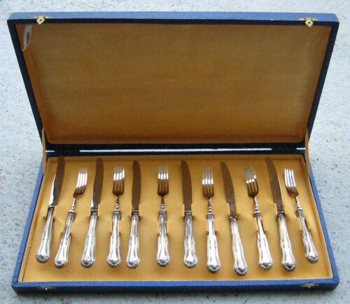 VINTAGE ARGENTO SOLINGEN SET OF 12, 800 SILVER DESERT FORK & KNIFE SET IN BOX