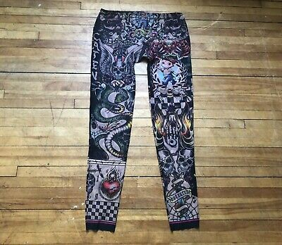 DSQUARED 2 BOY SKULLS TIGER MULTICOLOR TULLE LONG JOHNS LEGGINGS UNDERWEAR XL