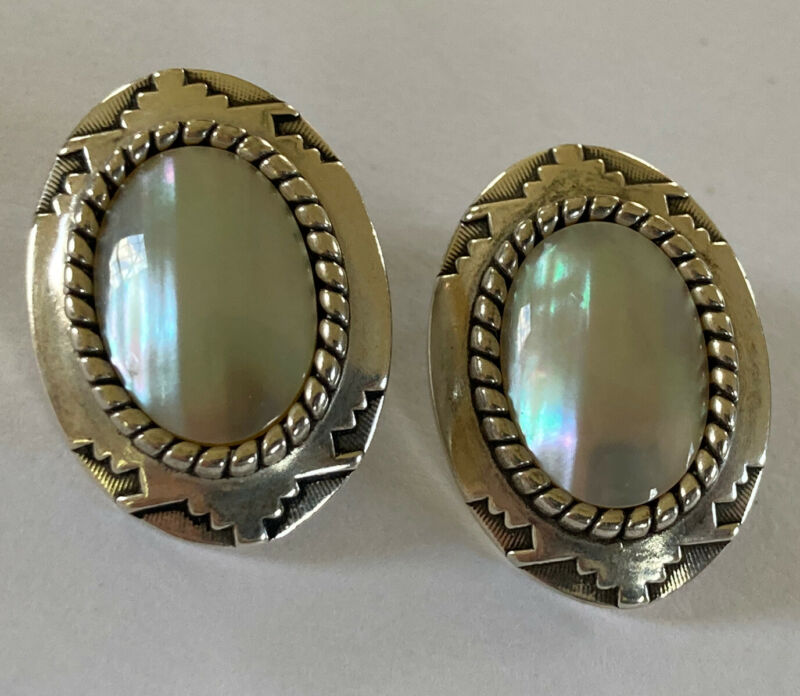 Vintage C. CO .925 Silver Mother of Pearl and Earrings Southwestern