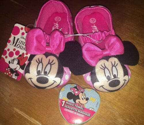 Toddler Girls Disney Minnie Mouse Slippers Sz 7-8 NWT + Magi