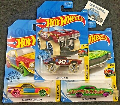 Hot Wheels - Lot of 3 - OLDS 442 W-30 - Buick Riviera - '67 Mustang - ART A1