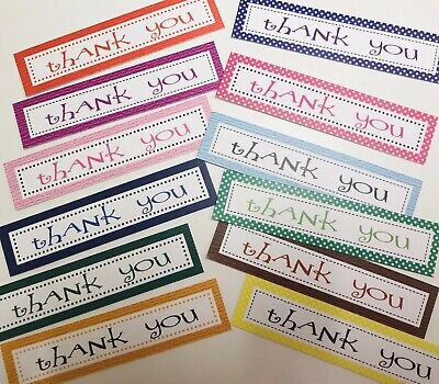 12 THANK YOU Sentiments/Banners MIXED COLOURS Hand Made Card Toppers TYOBMIX