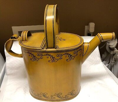American Tinware / Toleware Painted Hearth Large Water Can By Marvin Bishop OH