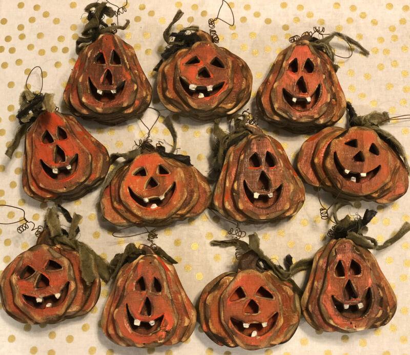 Vintage Halloween Primitive Rustic Jack O Lantern Dimensional Ornament Lot