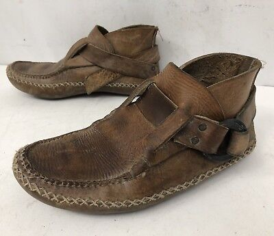 Carl Dyer Mountain Man Handmade Leather Mocassin Shoe Ring Boots W 9-9.5 M 7-7.5