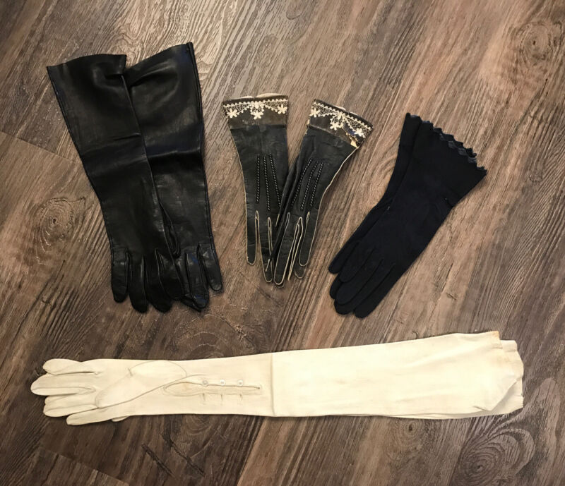 VTG Antique Lot Womens Leather Opera Gloves Size Small ~6 1/4 Suede Paris France
