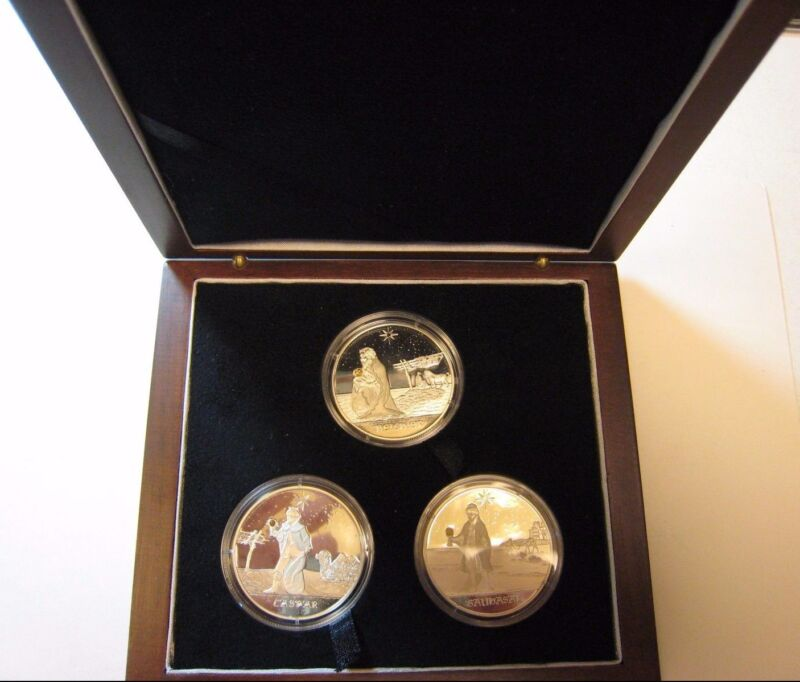2005 Congo 10 Francs Silver ( 3 Holy Kings ) Wood Case  ** FREE U.S. SHIPPING**