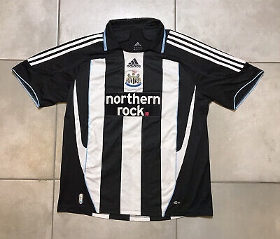 Newcastle United 2007/2009 Home Soccer Striped Jersey Adidas Climacool Sz L image