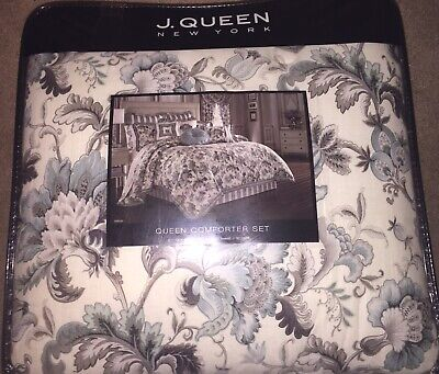 White, Gray & Blue Floral J. Queen New York Queen Sized Comforter
