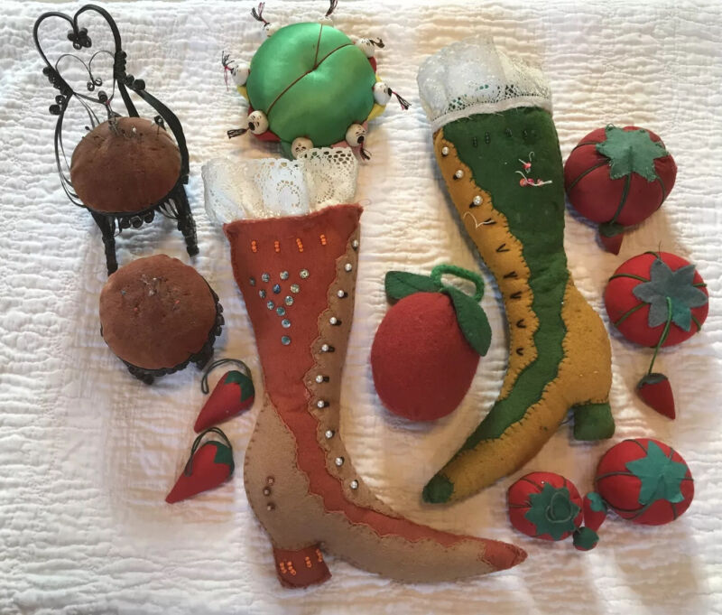 12 Vintage/Primitive Pin Cushion Lot: Tomatoes Strawberries Felt Boots Chair
