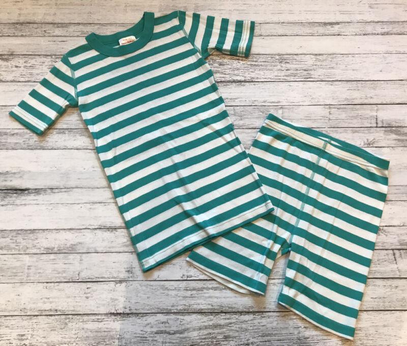 Hanna Andersson Teal Stripe Pajamas Short Johns 140 Cm 10 Y