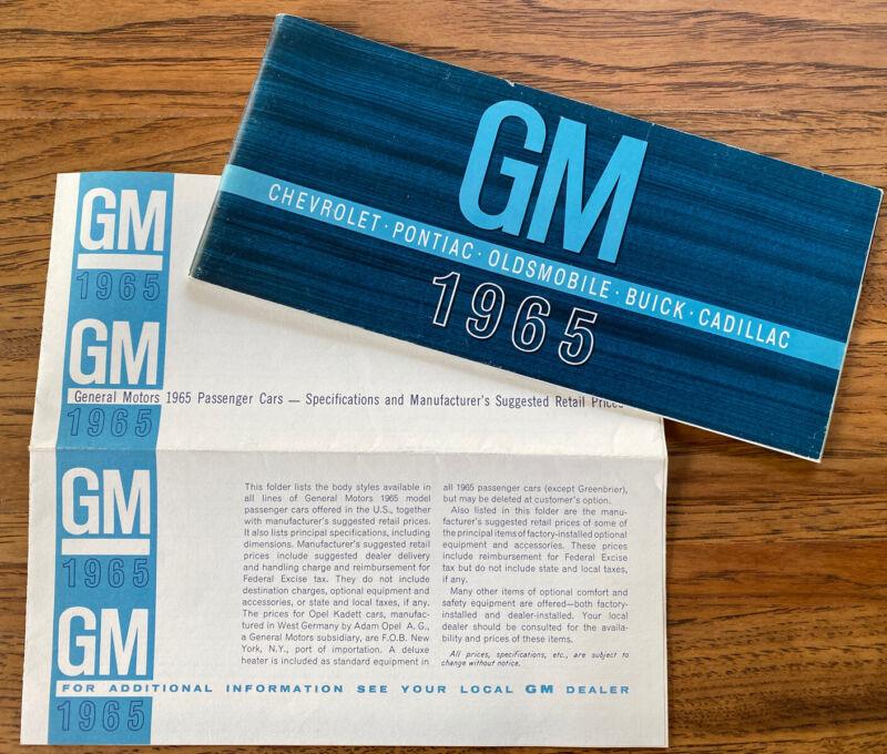 Vintage General Motors GM 1965 Brochure + Price List Chevy Olds Buick Cadillac