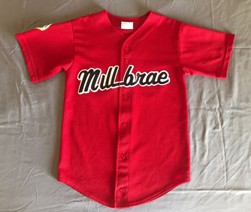 Milbrae SF Youth Red Baseball Jersey Athletic Apparel Size M 38-40