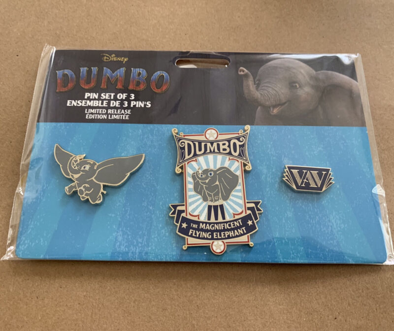 NWT Disney Store Dumbo Movie Pin Set - Limited Release of 3 pins Flying Elephant