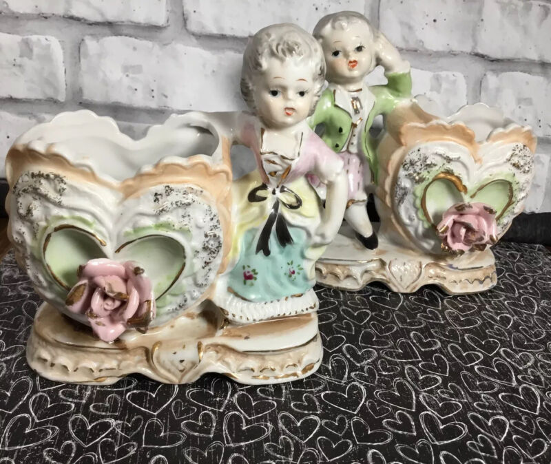 2 Vtg Wales Japan Colonial Valentine's Day Planter Heart Applied Rose Pastels