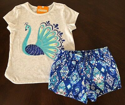 NWT Gymboree Girl Grey Peacock Tee & Blue Ikat Shorts Outfit 4 5 6 7 8 10 12 14