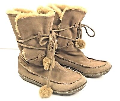 Moccasin Boots Girls Faux Fur Lined Tassels 6.5 to 7 Apres Ski (Apres Ski Fur)