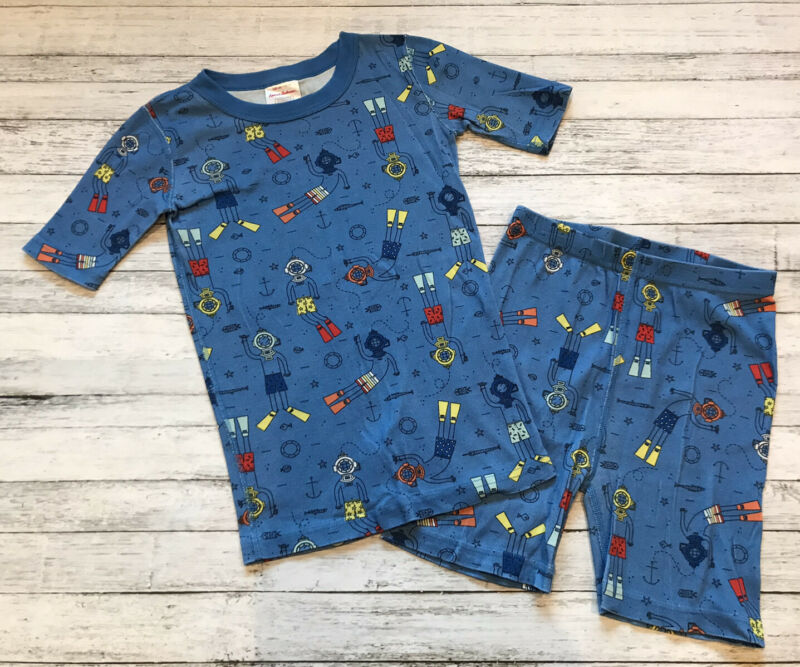 Hanna Andersson Blue Scuba Pajamas Short Johns 140 Cm 10 Y