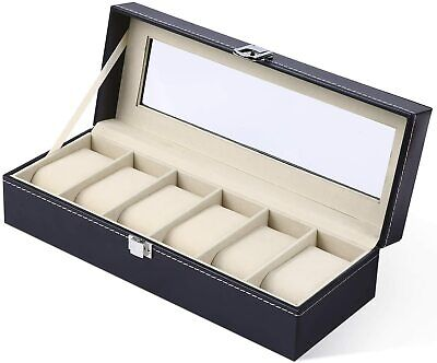 6 Slot Watch Box Leather Display Case Organizer Glass Jewelry Storage Black