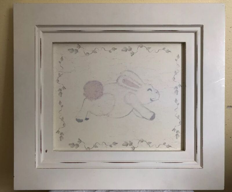 Wendy Bellissimo Baby Nursery Bunny Rabbit Wall Hanging Picture Frame Art Shabby