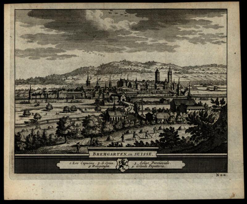 Bremgarten Switzerland c.1715-20, by Van der Aa old engraved city view