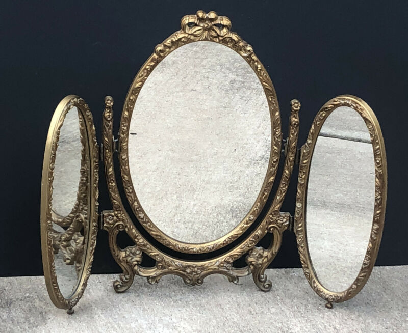 RARE! Vintage TRIPLE GOLD Antique ROSES Vanity MIRROR Hollywood Regency CARVED