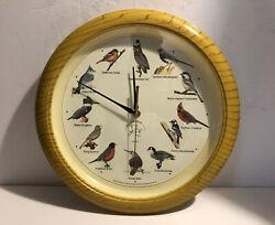 NATIONAL AUDUBON SOCIETY Singing Bird Song Wall Clock Faux Wood 13 Inch - Tested