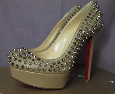 AUTH CHRISTIAN LOUBOUTIN BIANCA BEIGE TAN NUDE SILVER SPIKES PLATFORM PUMP/38.5