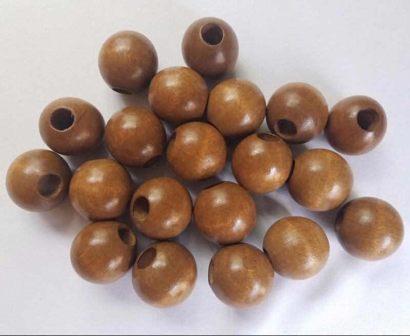 "Lot of 20 Maple Wood Round Macrame Wooden Craft Plant Hanger Beads 1-1/4"" 32mm"