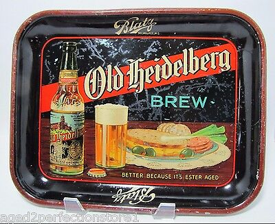 Antique OLD HEIDELBERG BREW Beer Advertising Tray Blatz metal litho 'Ester Aged'