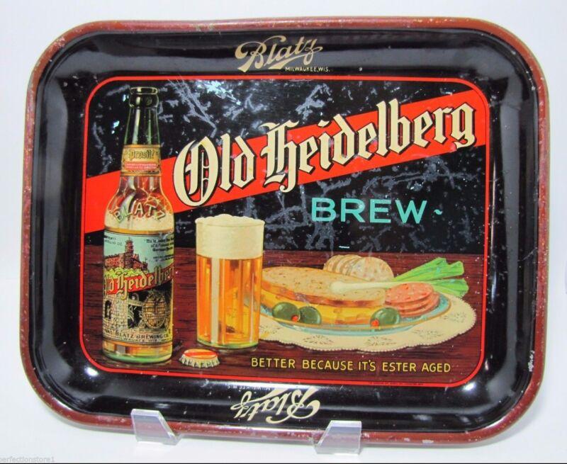 Antique OLD HEIDELBERG BREW Beer Advertising Tray Blatz metal litho