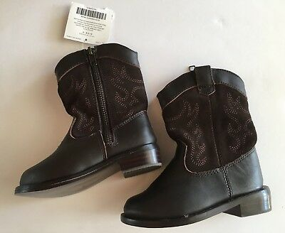 Cowboy Boots For Boys (NWT Janie & Jack Fall Frontier Brown Leather Cowboy Boots 5 05 for 12-18)