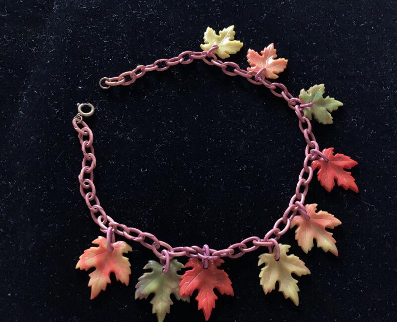 Vintage Bakelite Era Celluloid Maple Leaf Charm Choker Plastic Necklace WW2 40s