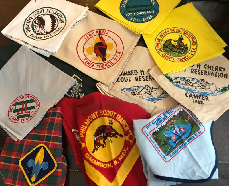 Vintage Lot 11 Boy Scout Neckerchief BSA Kanza Philmont Cherry Detroit Owasippe