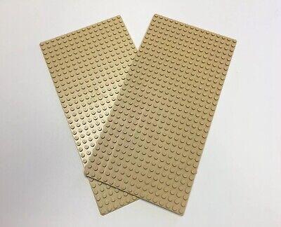 LEGO LOT OF 2 16 x 32 Tan Stud Baseplate Platform 5 x 10 inch Sand Western Base