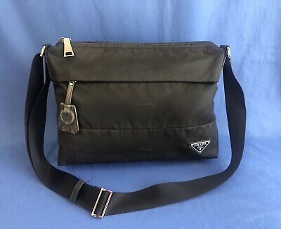 PRADA Large Black Nylon Messenger Crossbody Bag
